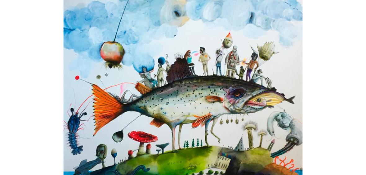 Fischwanderer - Art Print auf Bütten