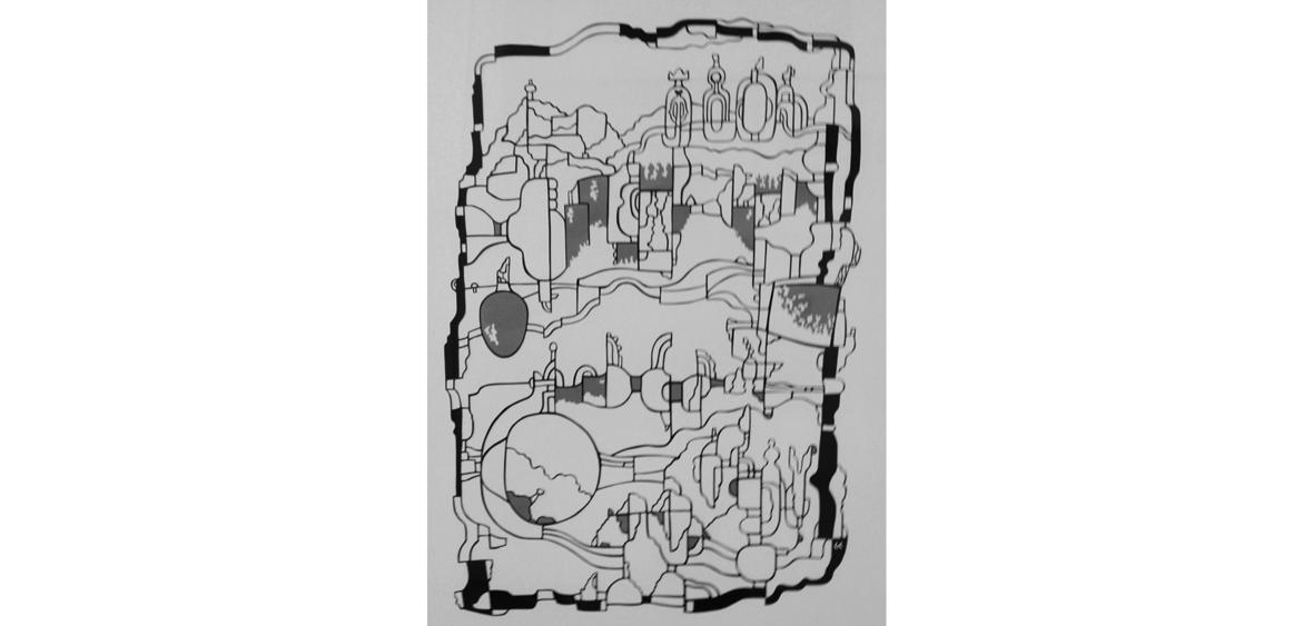 Stadt - Papierschnitt, Unikat