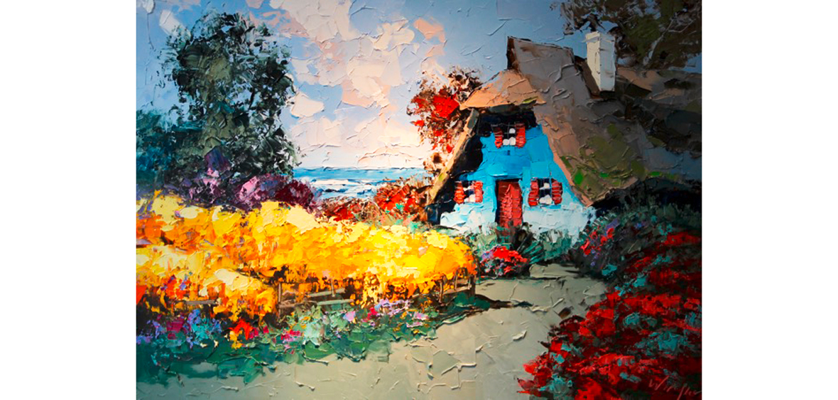 Das Blaue Haus - Öl auf Leinwand
