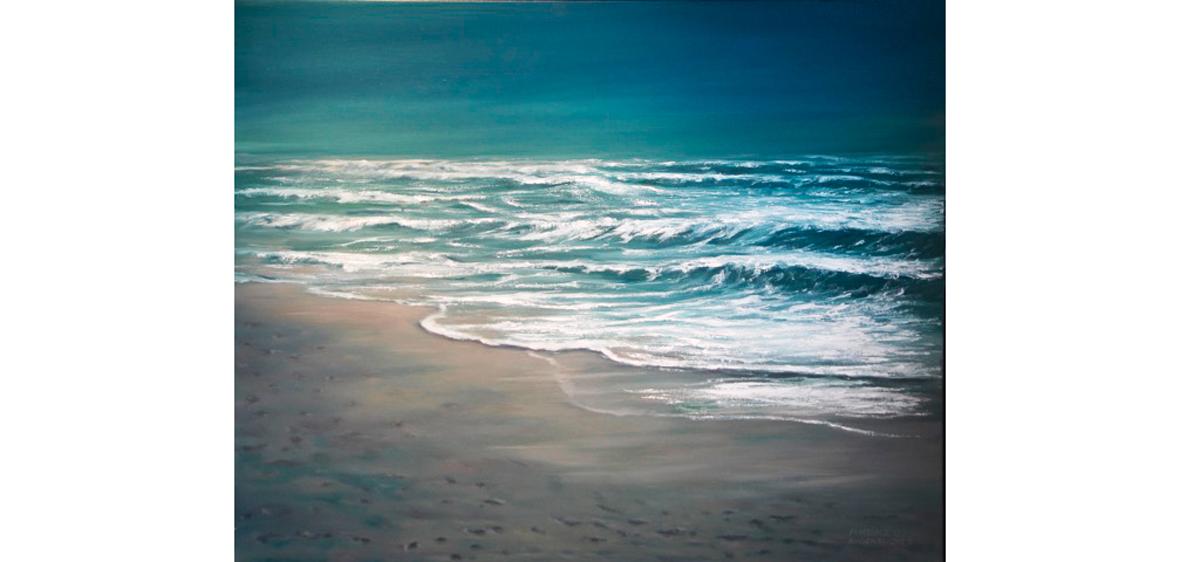 Wellen am Strand - Öl auf Leinwand