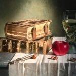 Römerglas und Bücher - Öl auf Leinwand