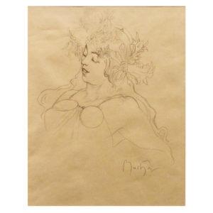 Alfons Mucha - Portrait eines Mädchens