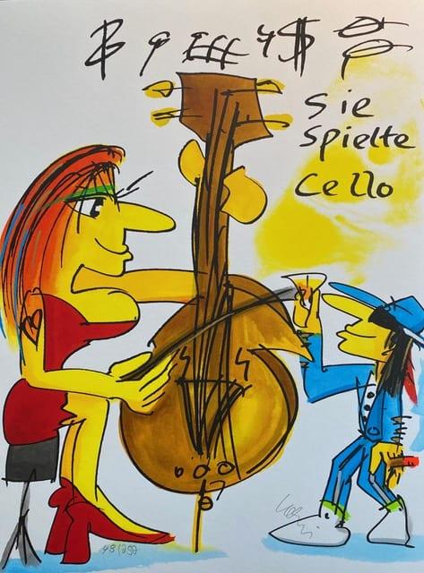 Sie-spielte-cello-lithografie